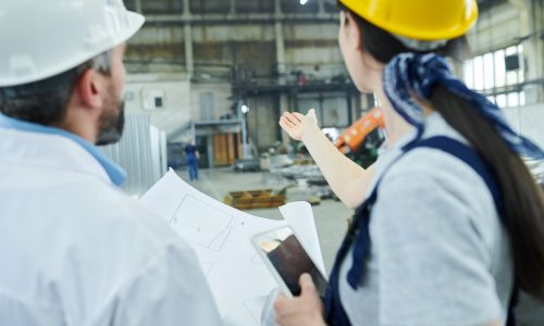Back view portrait of female factory worker discussing  plans with mature engineer in workshop and pointing
